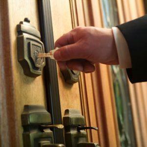 Unlocking a front door